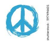 symbol peace drawn by hand.... | Shutterstock .eps vector #597496601