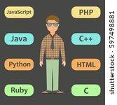 professional programmer working ... | Shutterstock .eps vector #597498881