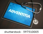 Small photo of Adventitia (gastrointestinal disease) diagnosis medical concept on tablet screen with stethoscope.