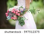 beautiful wedding bouquet of... | Shutterstock . vector #597512375