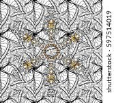 golden outline floral decor.... | Shutterstock .eps vector #597514019