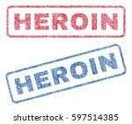 heroin text textile seal stamp... | Shutterstock .eps vector #597514385