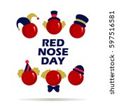 card of red nose day . vector... | Shutterstock .eps vector #597516581