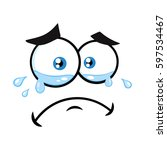 crying cartoon funny face with... | Shutterstock .eps vector #597534467