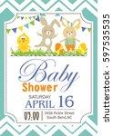 happy easter baby shower | Shutterstock .eps vector #597535535