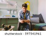 he is always on line with his... | Shutterstock . vector #597541961