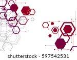 background of hexagonal... | Shutterstock .eps vector #597542531