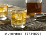 refreshing alcoholic scotch and ... | Shutterstock . vector #597548039