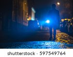 the man with a flashlight... | Shutterstock . vector #597549764