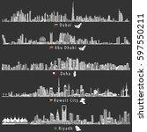 Stock vector abstract vector illustrations of dubai abu dhabi doha riyadh and kuwait city skylines at night 597550211