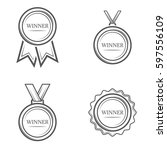 winner medal set of vector... | Shutterstock .eps vector #597556109