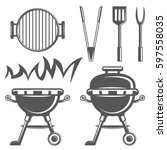 set of barbecue and grill icons ... | Shutterstock .eps vector #597558035