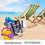 beach. | Shutterstock . vector #597558305