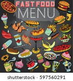 hand drawn fast food in gray... | Shutterstock .eps vector #597560291