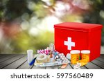 first aid kit. | Shutterstock . vector #597560489