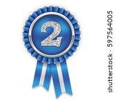 silver 2nd  place rosette ... | Shutterstock .eps vector #597564005