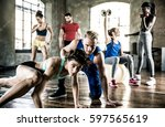 group of athlete training with... | Shutterstock . vector #597565619