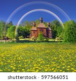 spring is a good sunny weather... | Shutterstock . vector #597566051