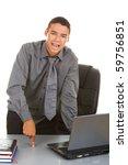 Businessman isolate on white - stock photo