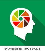 designer brain icon. flat... | Shutterstock . vector #597569375
