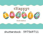 happy easter greeting card.... | Shutterstock .eps vector #597569711