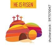 easter resurrection cave jesus... | Shutterstock .eps vector #597570047