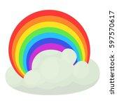 rainbow icon. cartoon... | Shutterstock . vector #597570617