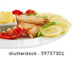 image of grilled salmon with... | Shutterstock . vector #59757301