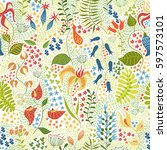 seamless floral pattern in... | Shutterstock .eps vector #597573101