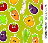 cartoon vegetable cute... | Shutterstock .eps vector #597573875
