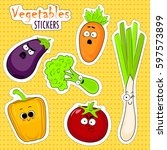 cartoon vegetable cute... | Shutterstock .eps vector #597573899