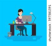 business woman or a clerk... | Shutterstock .eps vector #597581591
