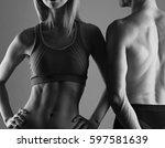 fit couple  strong muscular man ... | Shutterstock . vector #597581639