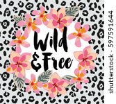 tropical wreath with pink...   Shutterstock .eps vector #597591644