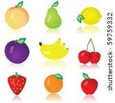 Glossy vector illustration of nine different fruits: peach, pear, lemon, plum, banana, cherry, strawberry, orange and apple - stock vector