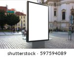 blank advertising stand on city ... | Shutterstock . vector #597594089