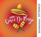 festive cinco de mayo sombrero  ... | Shutterstock .eps vector #597594419