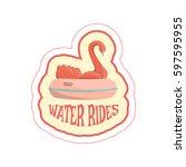 sticker with cartoon swan ride... | Shutterstock .eps vector #597595955
