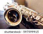 saxophone tenor. woodwind... | Shutterstock . vector #597599915