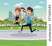 couple running exercise park... | Shutterstock .eps vector #597600185