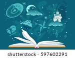 open book with imaginary... | Shutterstock .eps vector #597602291