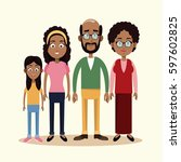 grandparents mother and... | Shutterstock .eps vector #597602825