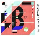 vector letter b memphis style... | Shutterstock .eps vector #597603161