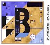 vector letter b memphis style... | Shutterstock .eps vector #597605099