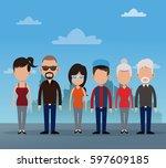 group people community social   Shutterstock .eps vector #597609185