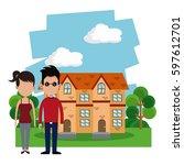 couple casual house garden | Shutterstock .eps vector #597612701