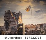 historic war and catapult fire | Shutterstock . vector #597622715