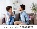 family  holidays and people... | Shutterstock . vector #597623291
