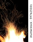 fire flames track on a black... | Shutterstock . vector #597625331