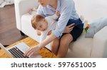 sweet little princess helping...   Shutterstock . vector #597651005